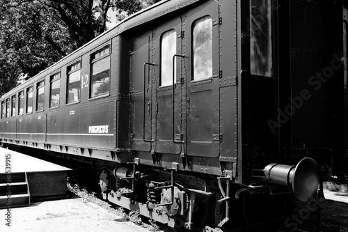Old belgium train. In vlack and white. Very industrial