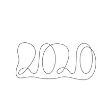 2020 Inscription,  Continuous Line Drawing, Calendar Design Postcard Banner, Calligraphy Year Of The Rat Sign Lettering, Two Thousand And Twenty Single Line On A White Background, Vector Line Art.
