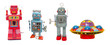 canvas print picture - isolated robots and a UFO retro tin toys