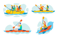 Extreme Paddling, Water Sports Vector Collection