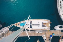 Overhead Shot Of A Sailboat Docked In San Diego Bay