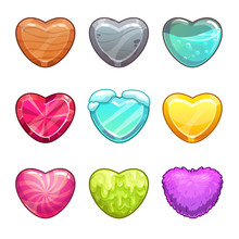 Game Assets Set. Cartoon Heart Made From Different Materials.