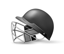 Cricket Helmet With Protective Grill On White Background, Side View