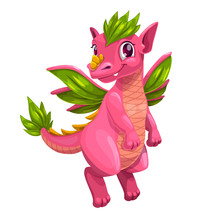 Little Cute Cartoon Pink Dragon. Kind Monster Icon.