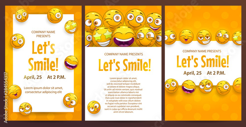 Three funny posters template set Canvas Print