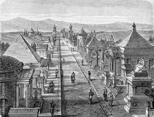 The via appia at roman time in the antiquity, flanked by grave memorials and mon Wallpaper Mural