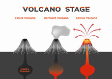 Volcano Stage Infographic / Extinct Dormant And Active Volcano /vector