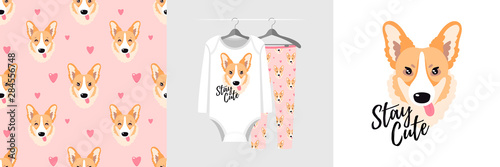 fototapeta na drzwi i meble Seamless pattern and illustration for kid with corgi, text Stay cute