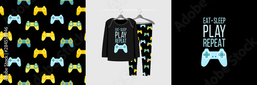 Fotografie, Tablou  Seamless pattern and illustration for kid with gamepad and quote Eat Sleep Play