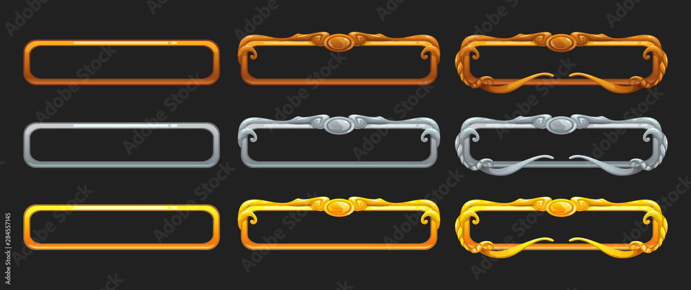 Fototapeta Metallic title banners set for epic game design. Golden, silver and bronze decorative frames.