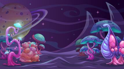 Fantasy alien landscape. Another world concept background.