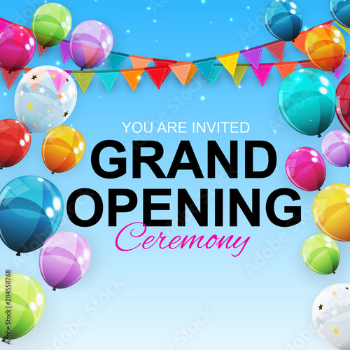Grand Opening Card with Balloons Background. Vector Illustration Wall mural