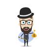 bitcoin crypto currency theme cartoon gentleman male man miner boy