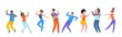 Dancing people. Happy trendy men, women dancers, group of happy young people enjoying dance. Vector illustrations modern party isolated set with guy and girl together entertainment on white background