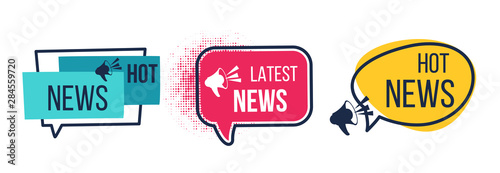 Fototapeta News badges. Daily hot latest and breaking news banners, newspapers and magazines announcement labels. Vector image flat headline promotions with icon megaphone obraz