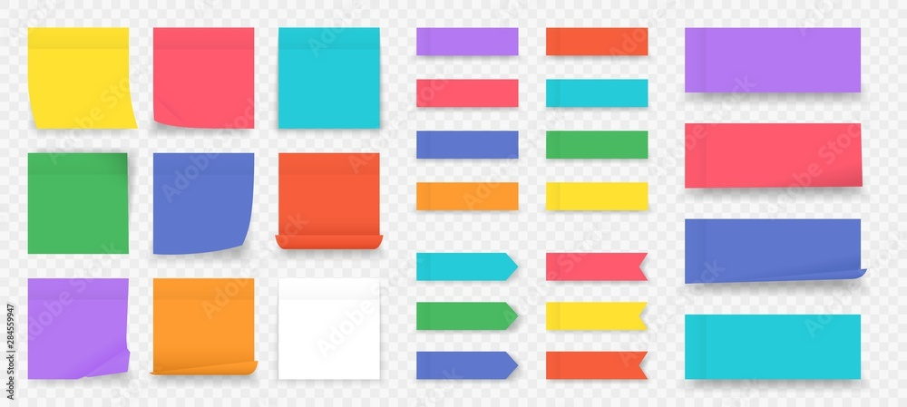 Fototapeta Sticky notes. Paper colored square reminders isolated on transparent background, empty notebook page. Vector illustration blank colorful sticky paper sheet to do note in office
