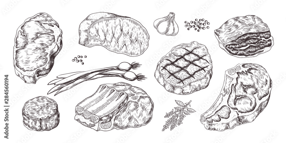 Fototapeta Steak. Vintage sketch with beef and pork chops ribs and fillet, butchery food products with garlic and pepper. Vector illustrations hand drawn fillet meat set with onion, garlic, pepper