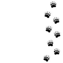 Black Bear Trace Silhouette. Vector Flat Illustration.