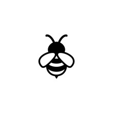 Black Honey Bee Simple Silhouette Flat Icon Isolated On White.