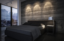 Luxury Bedroom At Dusk With Down Lights