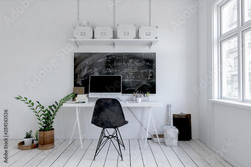 Modern monochromatic white office with blackboard