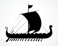 Ancient Viking Ship. Vector Drawing