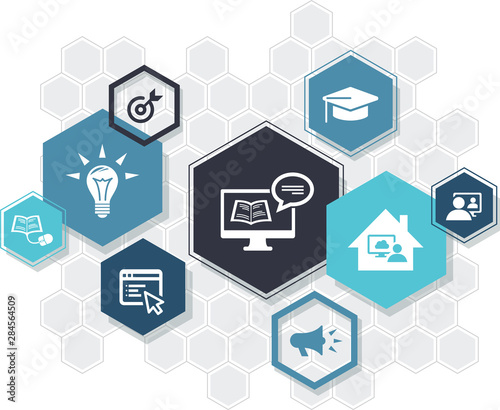 e-learning icon concept: blended learning, webinar, technology support, digital Wallpaper Mural