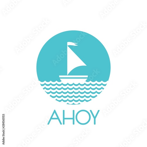 Photo Flat powder blue silhouette of boat with two sails and little waving flag on the water