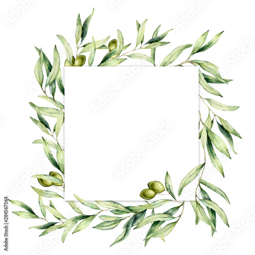 Watercolor border with green olive berries. Hand painted botanical card with olives branch isolated on white background. Floral illustration for design, print, fabric or background.