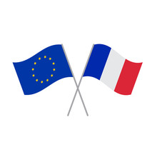 European Union And French Flags Vector Isolated On White Background