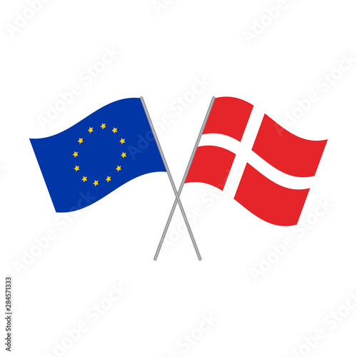 Wallpaper Mural European Union and Danish flags vector isolated on white background