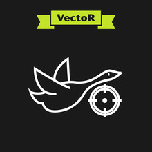 White Line Hunt On Duck With Crosshairs Icon Isolated On Black Background. Hunting Club Logo With Duck And Target. Rifle Lens Aiming A Duck. Vector Illustration