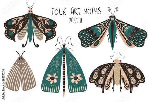 Set Of Folk Art Decorated Moths. Fotobehang