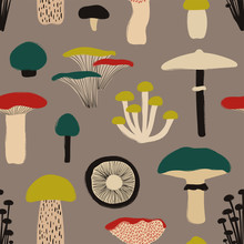 Colorful Seamless Pattern With Mushrooms.