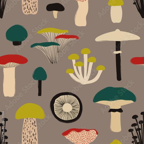 Obraz na płótnie Colorful Seamless Pattern With Mushrooms.