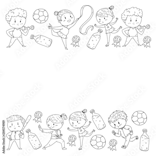 Poster de jardin Oiseaux en cage Children and sport. Vector illustration of activities. Football, soccer, running, dancing, martial arts. Health care in school and kindergarten.
