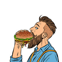 Hipster Man Eating Burger