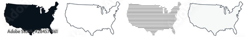 Obraz US Map Black   USA Border   United States Country   America   Variations - fototapety do salonu