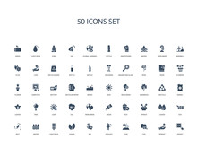 50 Filled Concept Icons Such As Socket, Sprout, Co2, Leaf, Ecology, Bio, Leaves,light Bulb, Water, Bolt, Eco, Leaves, Sprout