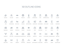 50 Outline Concept Icons Such As Cotton Polo Shirt, Sneaker, Jewelry Set, Cocktail Dress, Leather Derby Shoe, Women Socks, Chinos Pants,mannequin, Bow Tie, Hooded Jacket, Wool Gloves, Oxford Wave