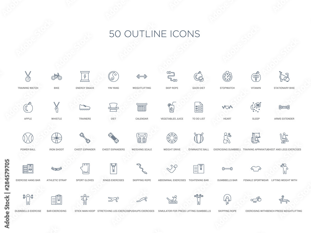 Fototapety, obrazy: 50 outline concept icons such as bench press weightlifting, exercising with gymnastic ball, skipping rope, lifting dumbbells, simulator for press, pushups exercises, stretching leg exercise,stick