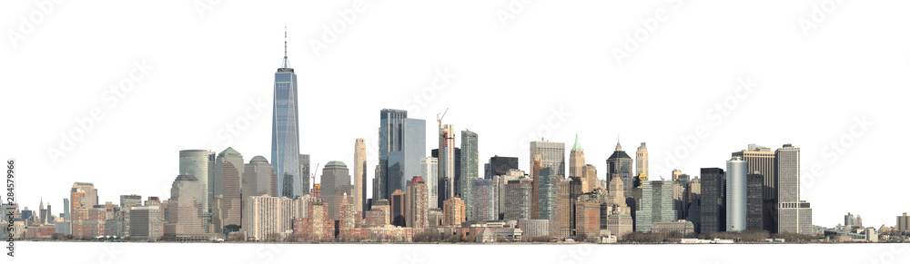 Fototapeta Panoramic view of Lower Manhattan from the Ellis Island - isolated on white. Clipping path included.
