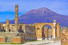 Pompeii, Ancient Roman City In Italy, Vesuvius Volcano In Background