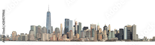 Obraz Panoramic view of Lower Manhattan from the Ellis Island - isolated on white. Clipping path included. - fototapety do salonu
