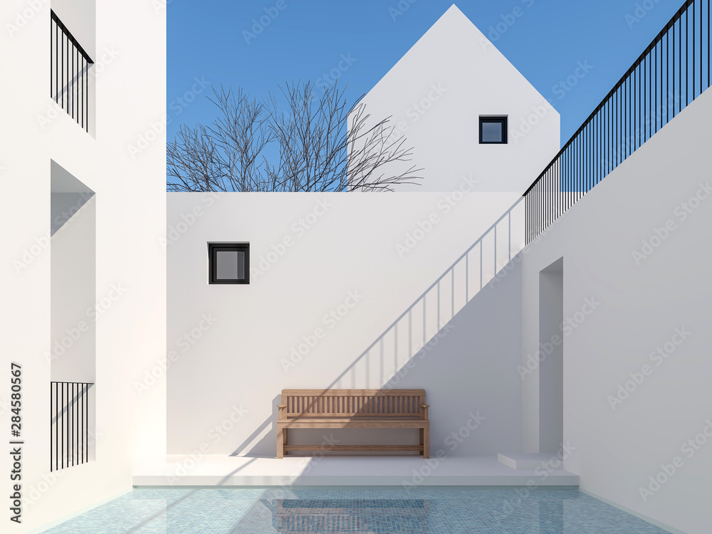 Fototapeta Minimal style pool courtyard 3d render,There are a swimming pool with blue tiles Surrounded by white buildings Decorated with wooden benches With clear sunlight shining down.