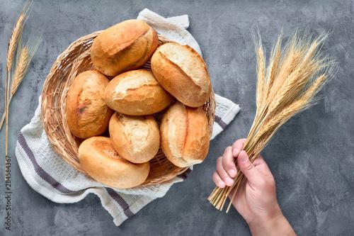 Fototapeta Bread buns in basket on rustic wood with wheat ears, top view on grey obraz