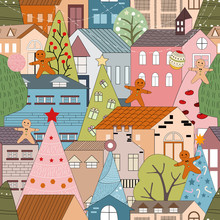 Seamless Christmas Landscape In The Town With Fairy Tale Houses,Ginger Bread Man,Christmas Trees With Decorations,city On Holiday Eve,Cute Winter City Life In Flat Design,