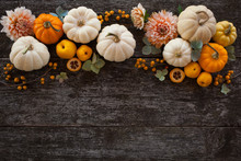 Wooden Background With Pumpkin...