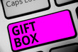 canvas print picture - Writing note showing Gift Box. Business photo showcasing A small cointainer with designs capable of handling presents Keyboard purple key Intention computer computing reflection document