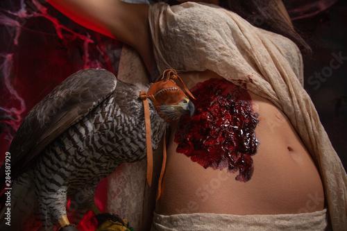 Valokuva  beauty brunette girl and a hawk on dark gothic scary studio background